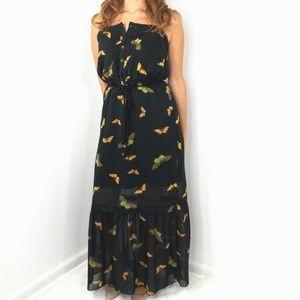 Kensie Dresses - KENSIE Butterfly Black Maxi Dress Small